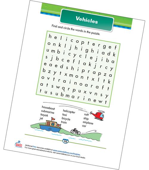 Vehicles Free Printable Sample Image