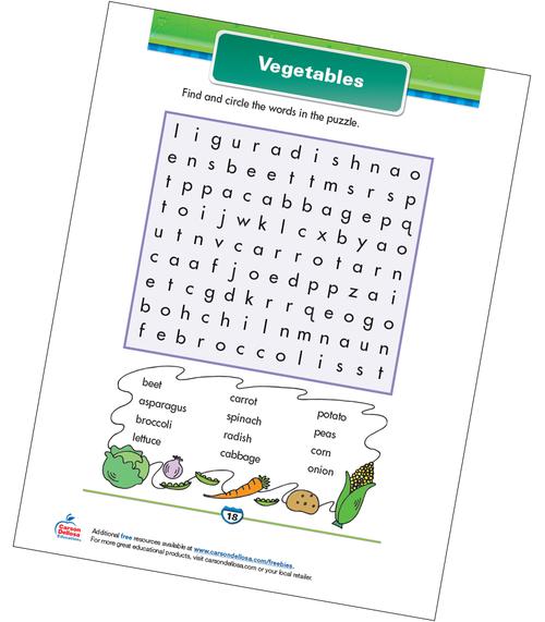 Vegetables Free Printable Sample Image