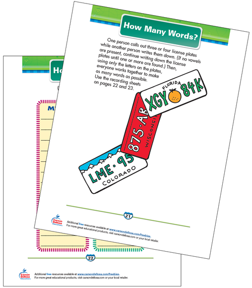 How Many Words? Free Printable Sample Image