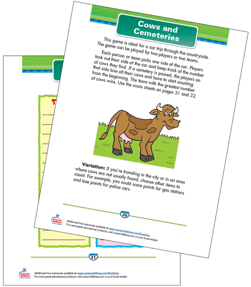 Cows and Cemeteries Free Printable Sample Image