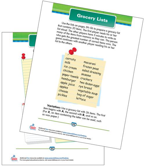 Grocery Lists Free Printable Sample Image
