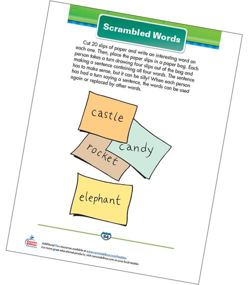 Scrambled Words Free Printable Sample Image