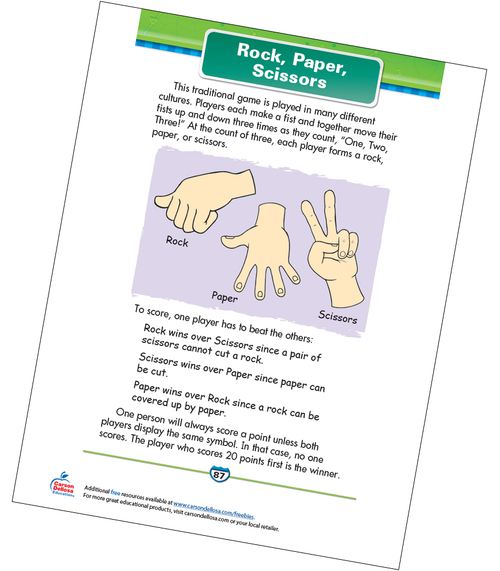 Rock, Paper, Scissors Free Printable Sample Image