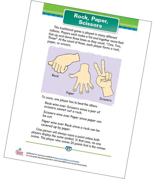 Rock, Paper, Scissors Free Printable Sample Image