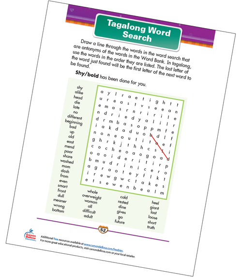 Tagalong Word Search Free Printable Sample Image