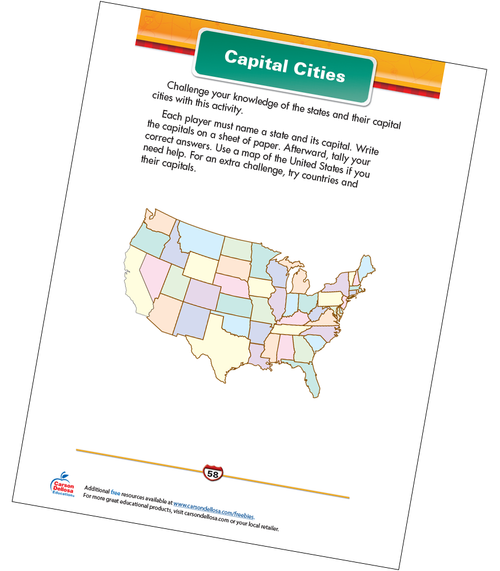 Capital Cities Free Printable Sample Image