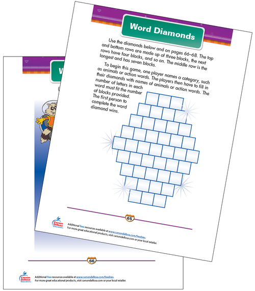 Word Diamonds Free Printable Sample Image