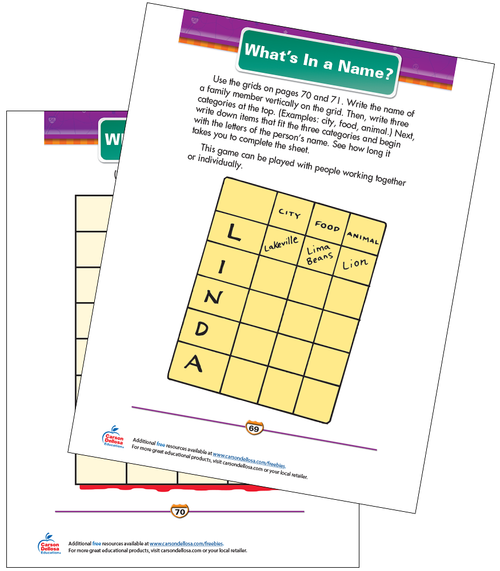 What's In a Name? Free Printable Sample Image
