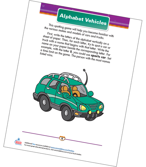 Alphabet Vehicles Free Printable Sample Image