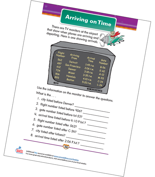 Arriving on Time Free Printable Sample Image