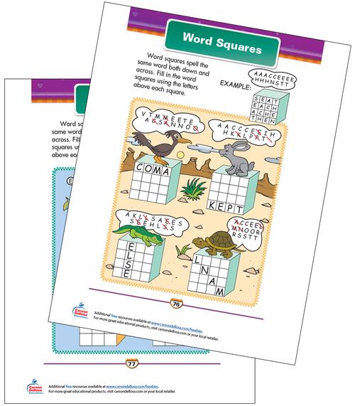 Word Squares Free Printable Sample Image