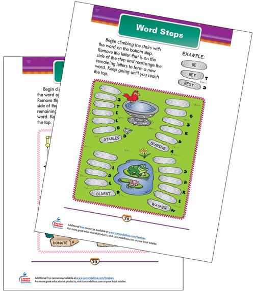 Word Steps Free Printable Sample Image
