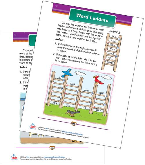 Word Ladders Free Printable Sample Image