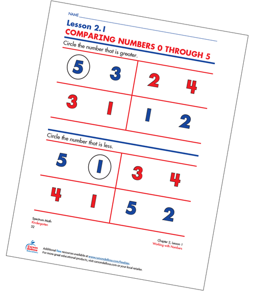 Comparing Numbers 0 Through 5 Free Printable Sample Image
