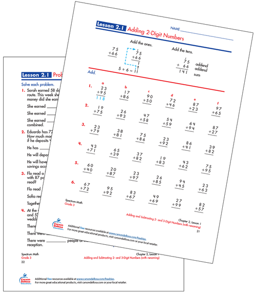 Adding 2-Digit Numbers Free Printable Sample Image