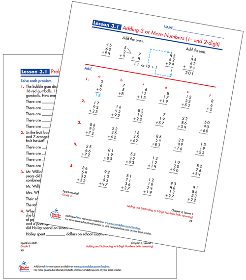 Adding 3 or More Numbers (1- and 2-digit) Free Printable Sample Image
