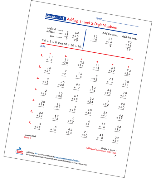 Adding 1- and 2-Digit Numbers Free Printable Sample Image