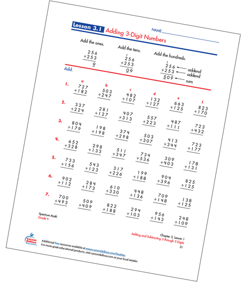 Adding 3-Digit Numbers Free Printable Sample Image