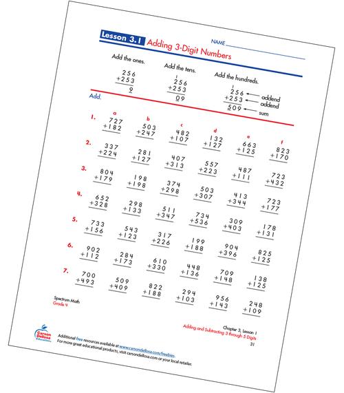 Adding 3-Digit Numbers Free Printable Sample Image