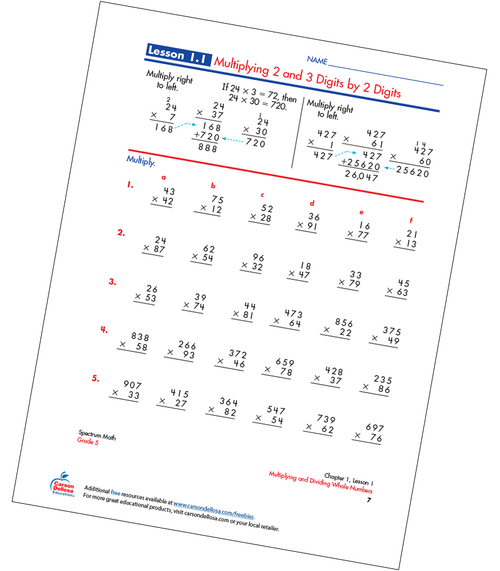 Multiplying 2 and 3 Digits by 2 Digits Free Printable Sample Image