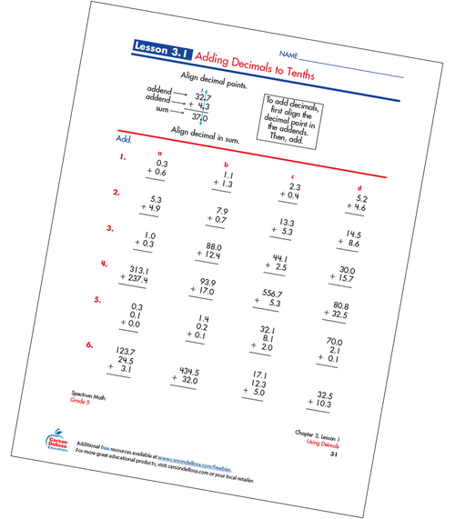 Adding Decimals to Tenths Free Printable Sample Image