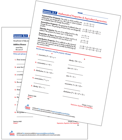Mathematical Properties & Equivalent Expressions Free Printable Sample Image