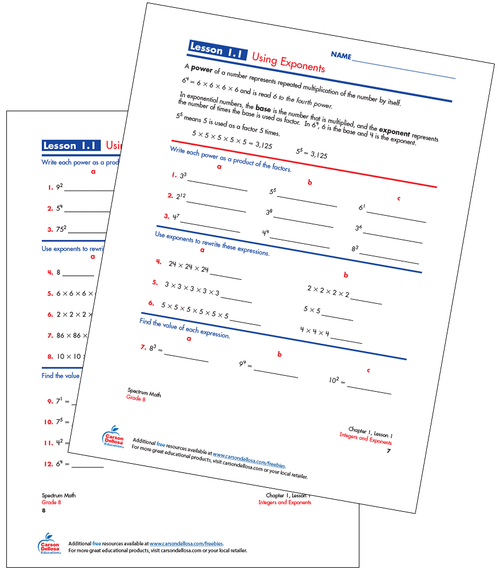 Using Exponents Free Printable Sample Image