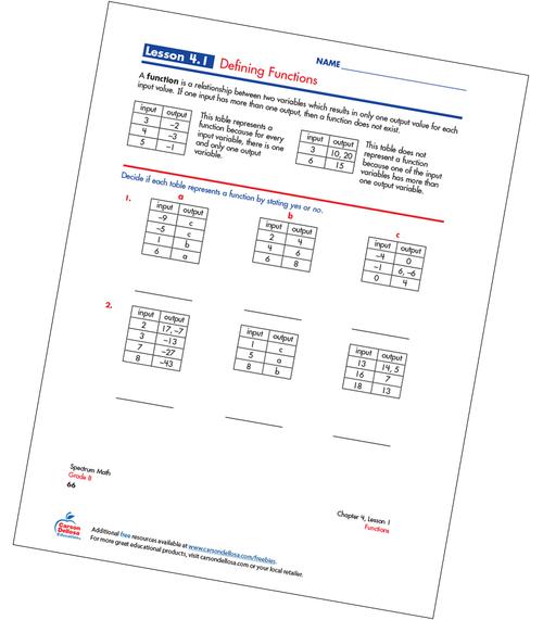 Defining Functions Free Printable Sample Image