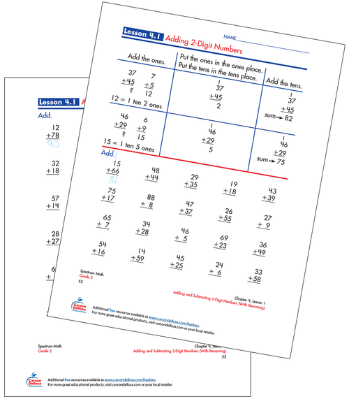 Adding 2-Digit Numbers Free Printable Sample Image