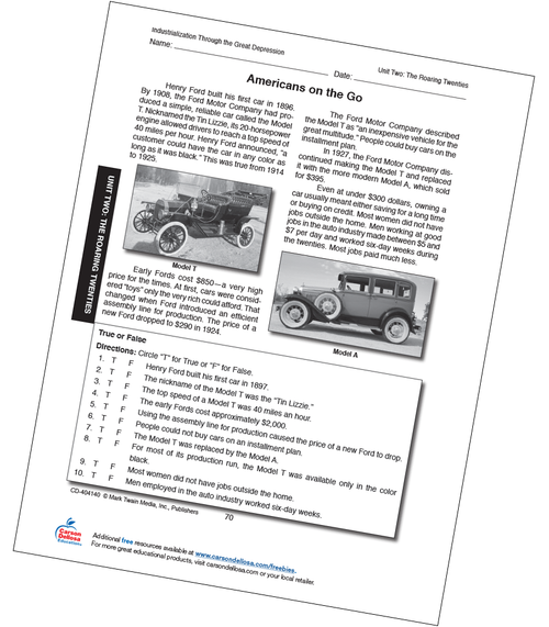 Americans on the Go Activity Free Printable Sample Image