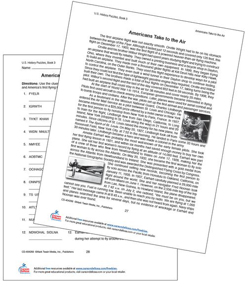 Americans Take to the Air Word Scramble Free Printable Sample Image