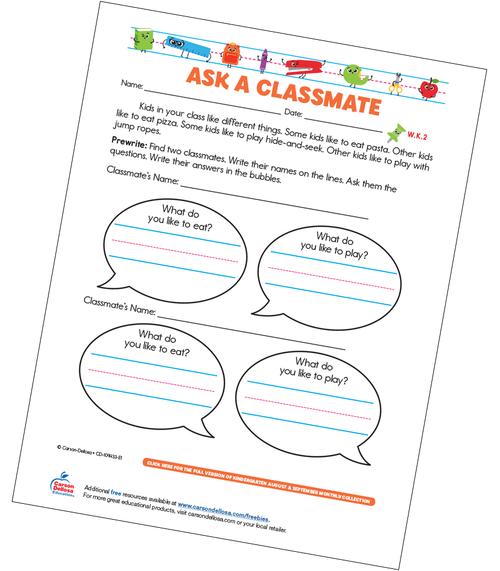 Ask a Classmate Free Printable Sample Image