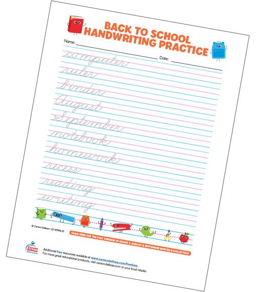 Back to School Handwriting Practice - Cursive Free Printable