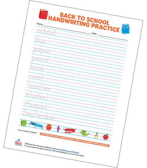 Back to School Handwriting Practice Manuscript Free Printable