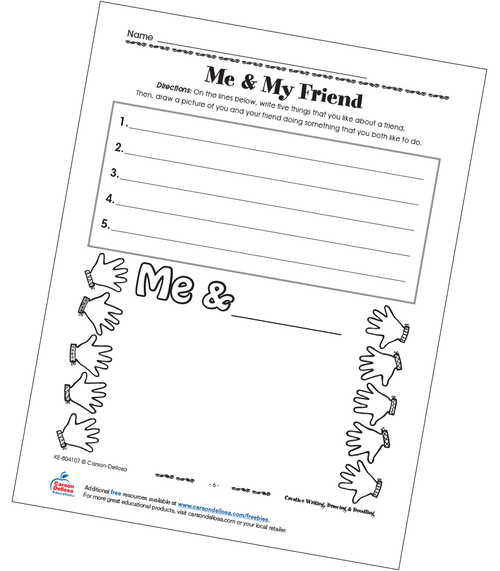 Me & My Friend Free Printable Sample Image