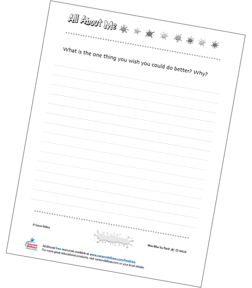 What Do You Wish You Could Do Better? Free Printable Sample Image