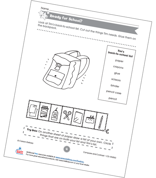 Ready for School Free Printable Sample Image
