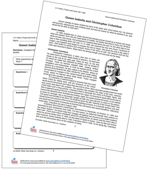 Queen Isabella and Christopher Columbus Free Printable Sample Image