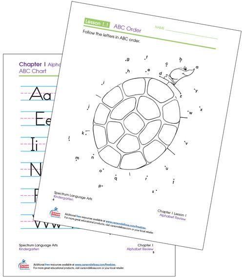 Kindergarten Spectrum ABC Order Connect the Dots Language Arts Printable Workbook