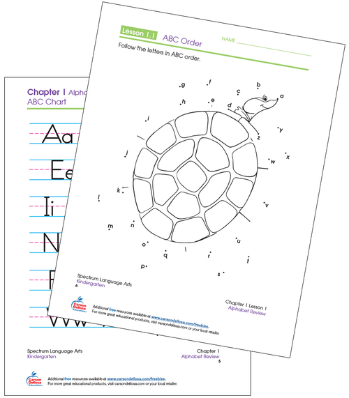 Kindergarten Spectrum ABC Order Connect the Dots Language Arts Printable Workbook