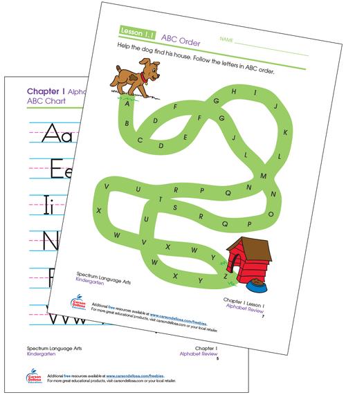ABC Maze Kindergarten Free Printable