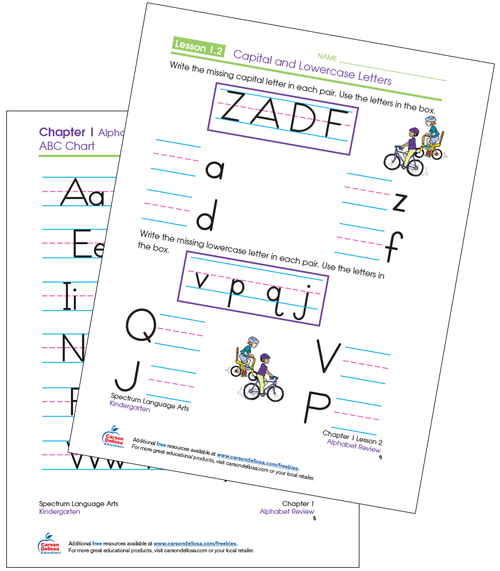 Spectrum® Language Arts for Kindergarten Capital and Lowercase Letter Writing Activity Free Printable