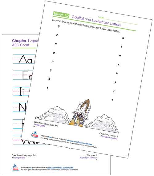 Spectrum® Language Arts for Kindergarten Capital and Lowercase Matching Activity Workbook