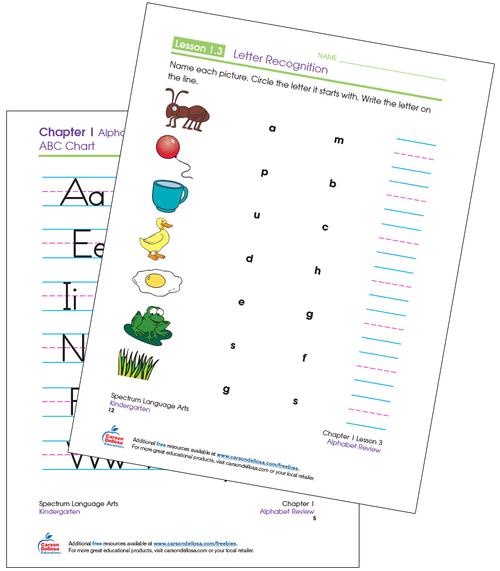 Letter Recognition Kindergarten Free Printable  Sample Image