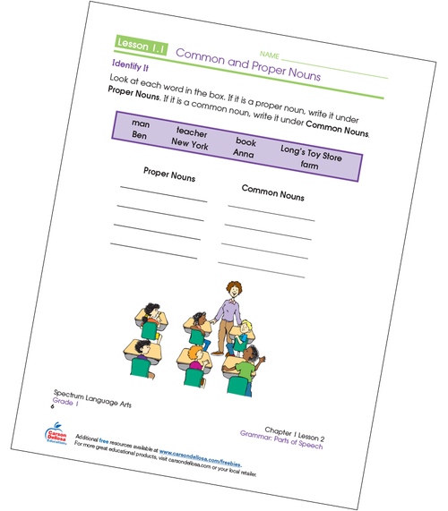 Identifying Common and Proper Nouns Grade 1 Free Printable Sample Image