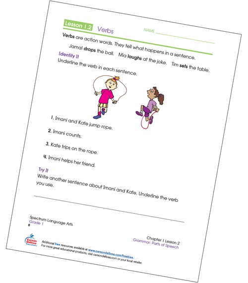Identifying Verbs Grade 1 Free Printable Sample Image