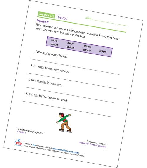 Writing Verbs Grade 1 Free Printable Sample Image