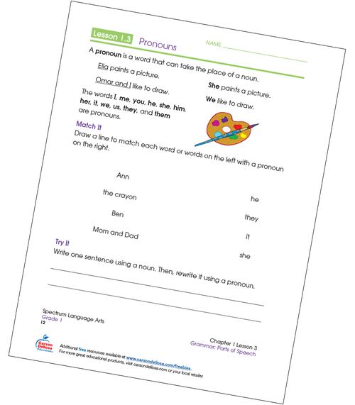 Matching Pronouns Grade 1 Free Printable Sample Image