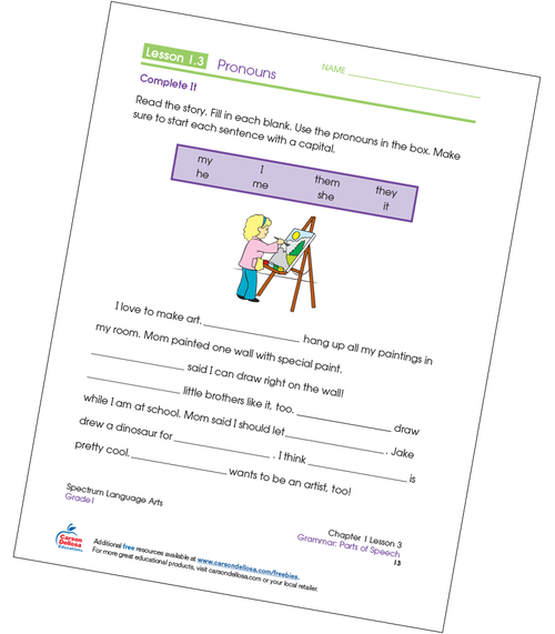 Pronouns Fill-in-the-Blanks Grade 1 Free Printable Sample Image