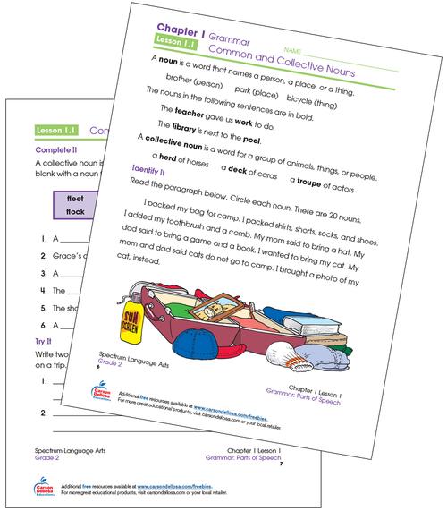 Common and Collective Nouns Grade 2 Free Printable Sample Image